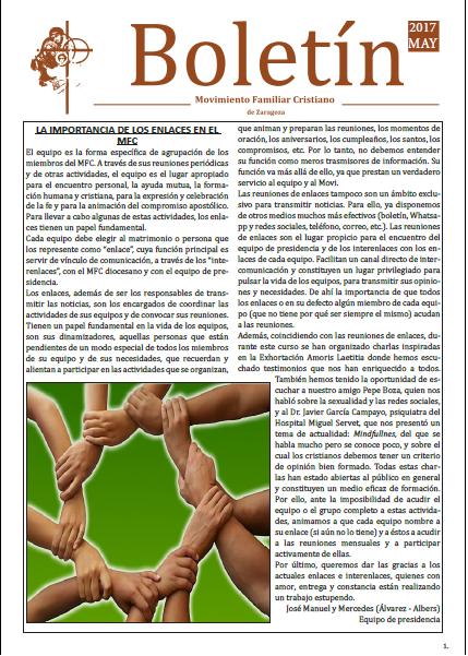 Boletín de Mayo 2017, Movimiento Familiar Cristiano de Zaragoza